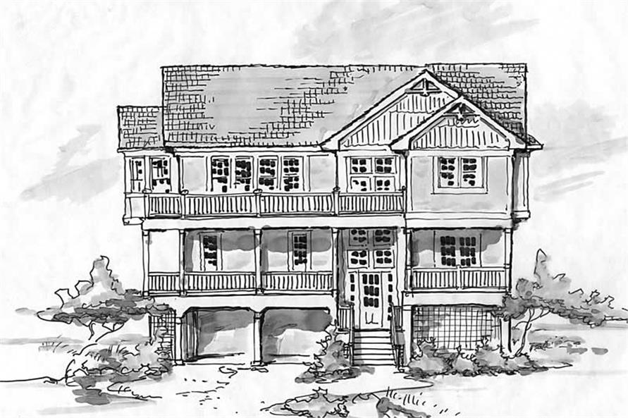 Home Plan Front Elevation of this 8-Bedroom,3247 Sq Ft Plan -130-1032