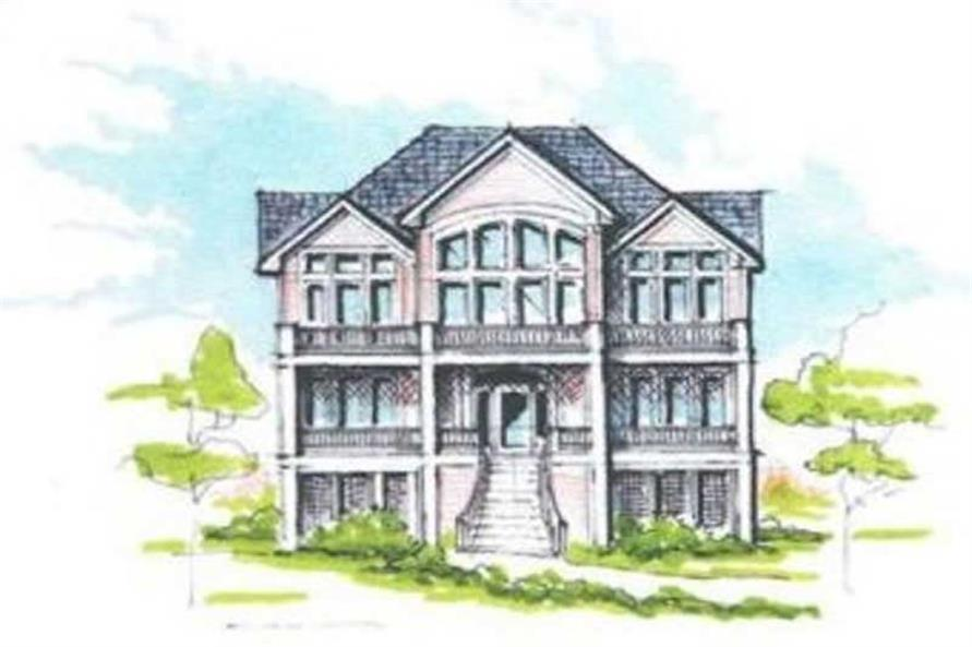 Home Plan Front Elevation of this 5-Bedroom,3289 Sq Ft Plan -130-1033