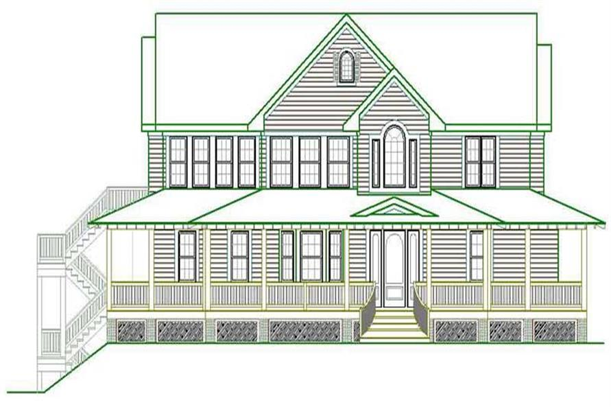 Home Plan Front Elevation of this 5-Bedroom,3289 Sq Ft Plan -130-1034