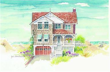 5-Bedroom, 3161 Sq Ft Coastal Home Plan - 130-1037 - Main Exterior