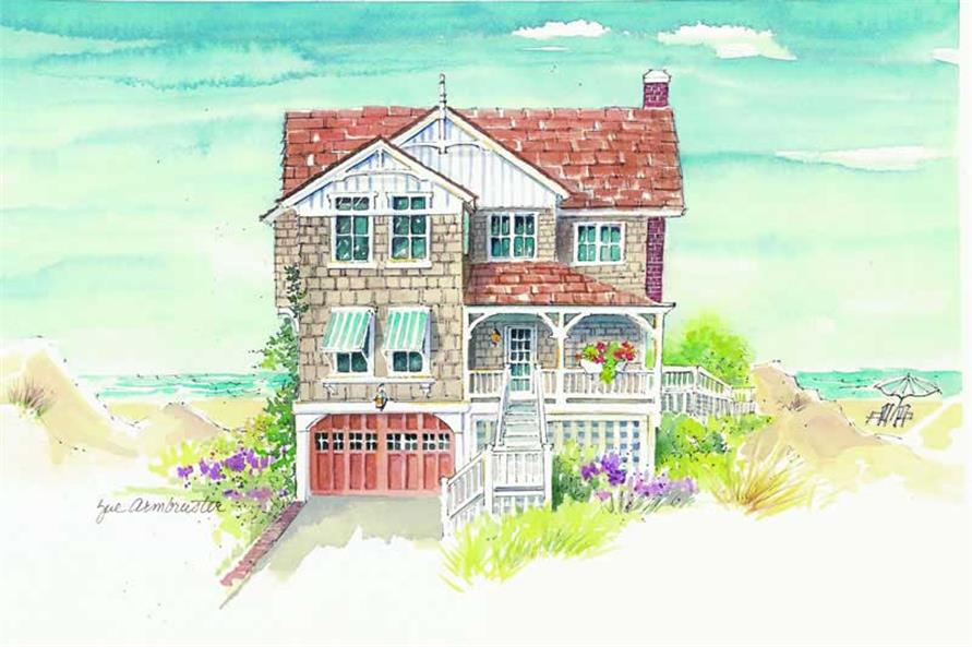 5-Bedroom, 3161 Sq Ft Coastal Home Plan - 130-1037 - Main Exterior