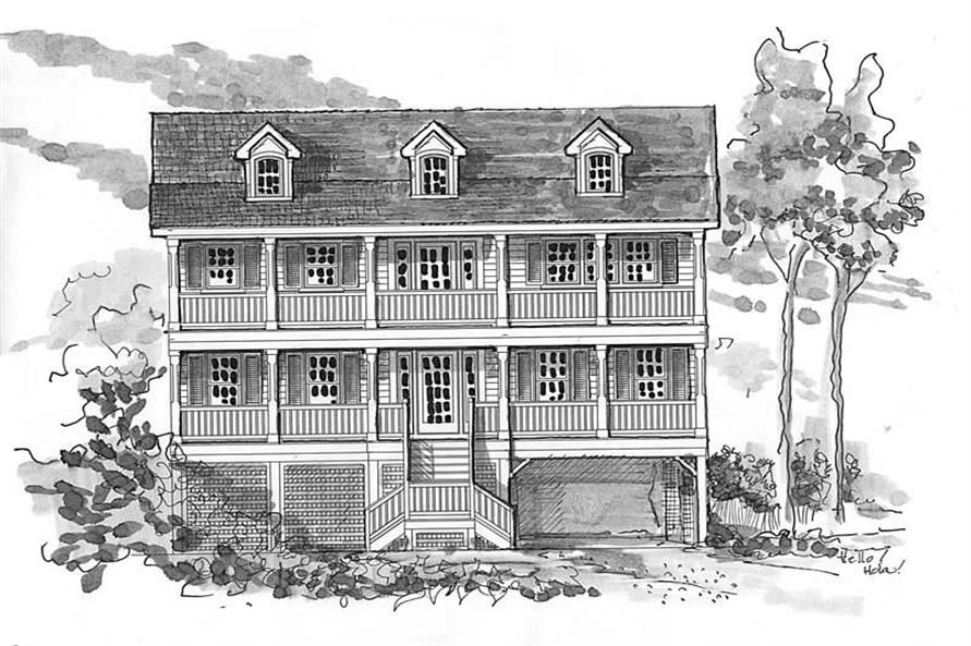 Home Plan Front Elevation of this 7-Bedroom,3088 Sq Ft Plan -130-1038