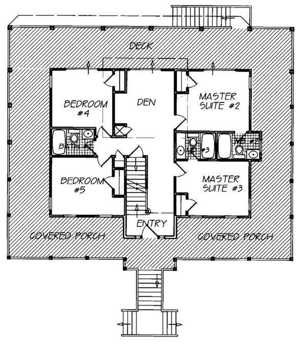 California Bungalow Floor Plans: House Plan #130-1039 : 6 Bedroom, 2845 Sq Ft Coastal