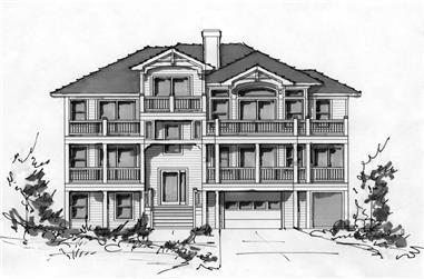 4-Bedroom, 2734 Sq Ft Coastal House Plan - 130-1040 - Front Exterior