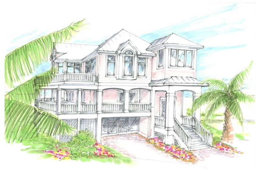 Home Plan Front Elevation of this 5-Bedroom,2652 Sq Ft Plan -130-1042