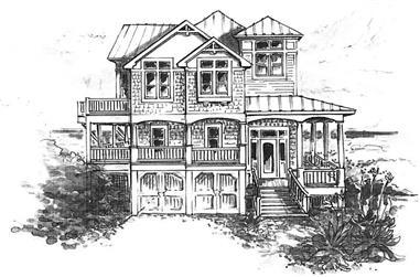 4-Bedroom, 2222 Sq Ft Coastal Home Plan - 130-1043 - Main Exterior