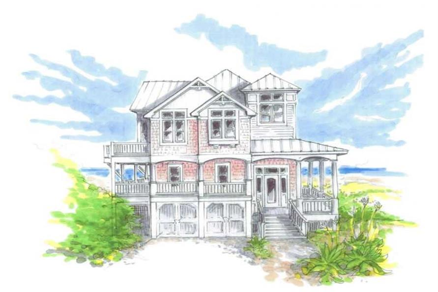 Home Plan Front Elevation of this 4-Bedroom,2222 Sq Ft Plan -130-1043