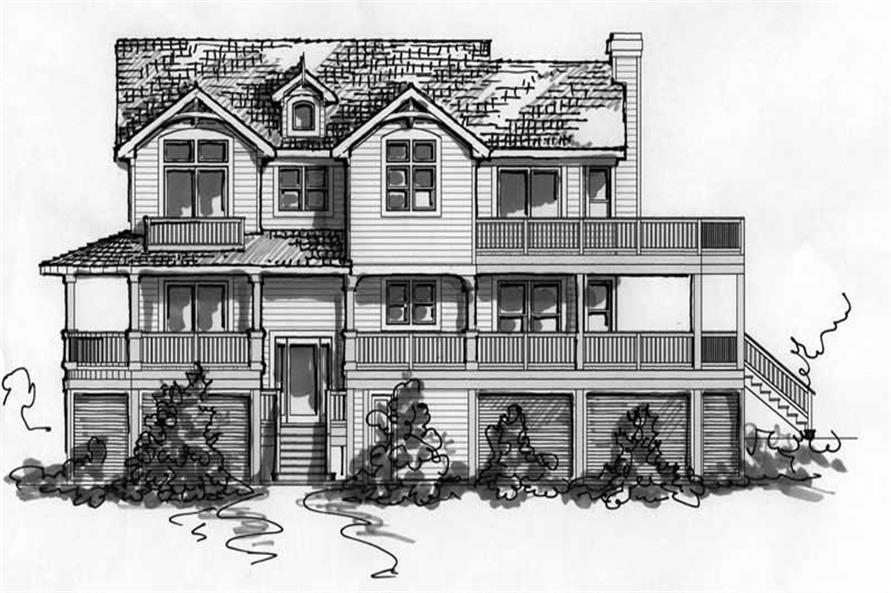 Home Plan Front Elevation of this 5-Bedroom,2318 Sq Ft Plan -130-1045