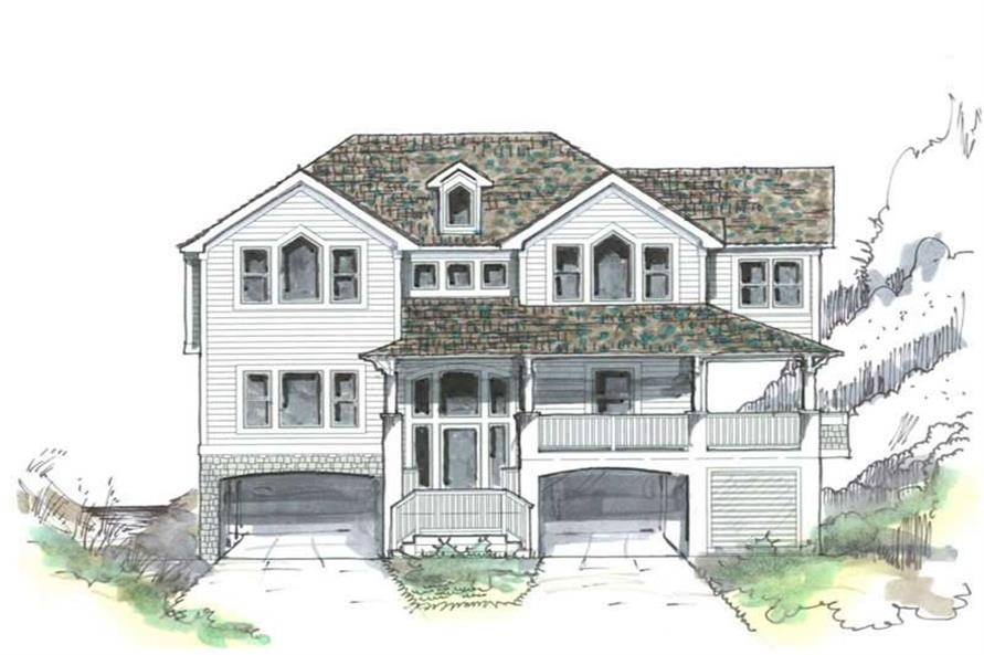 Home Plan Front Elevation of this 5-Bedroom,2424 Sq Ft Plan -130-1049