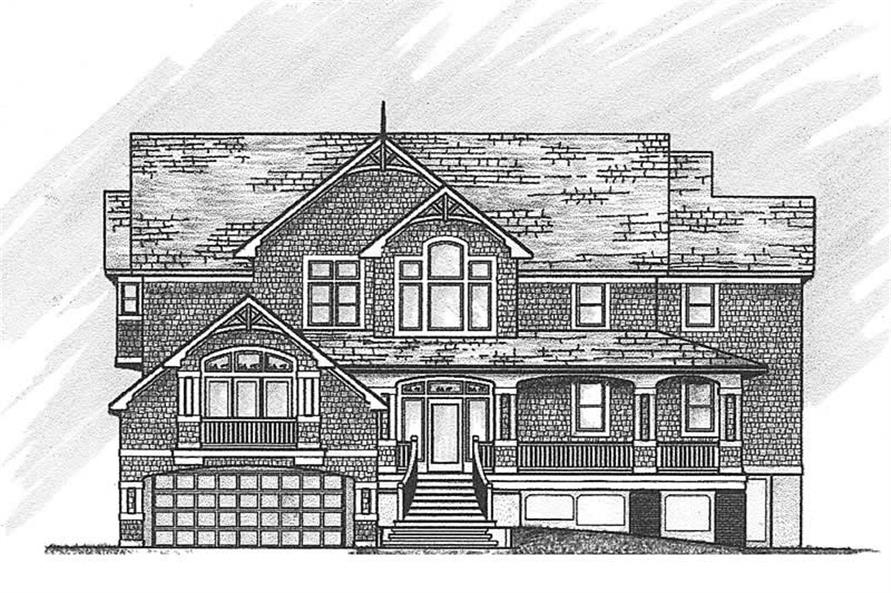 Home Plan Front Elevation of this 6-Bedroom,4582 Sq Ft Plan -130-1055
