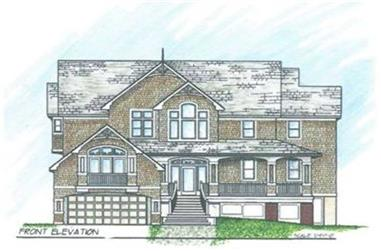 6-Bedroom, 4582 Sq Ft European House Plan - 130-1055 - Front Exterior