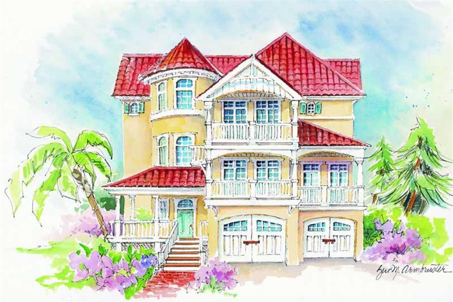 5-Bedroom, 3801 Sq Ft Coastal Home Plan - 130-1057 - Main Exterior