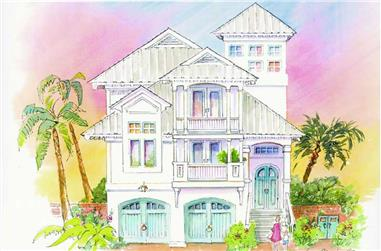 3-Bedroom, 3580 Sq Ft Coastal Home Plan - 130-1063 - Main Exterior