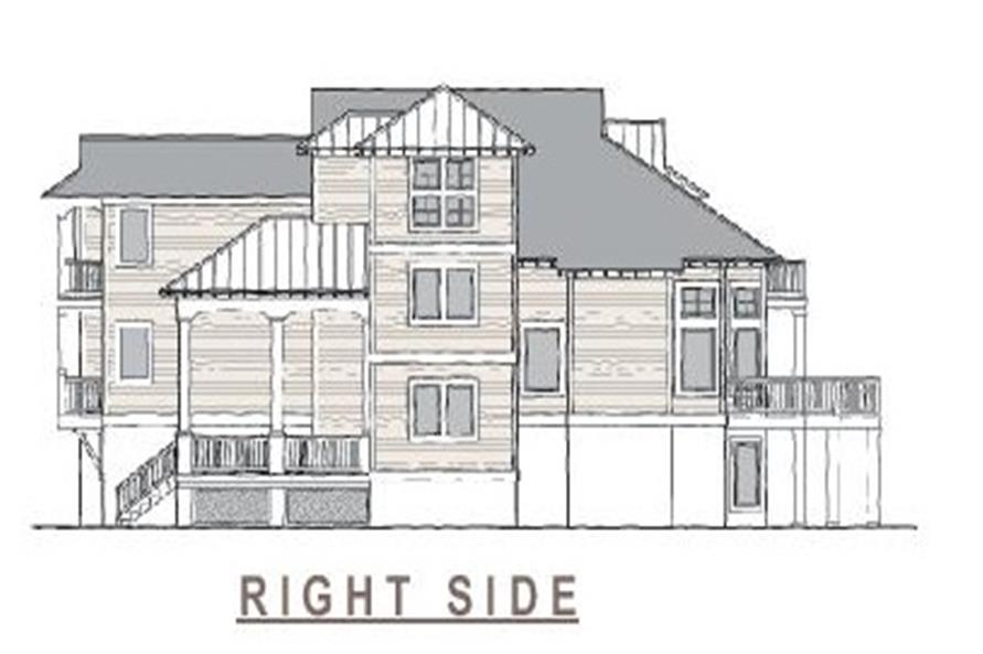 130-1063 house plan right elevation