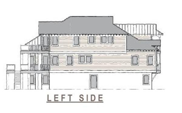 130-1063 home plan left elevation