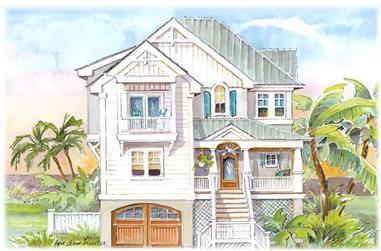 5-Bedroom, 3140 Sq Ft Coastal Home Plan - 130-1066 - Main Exterior