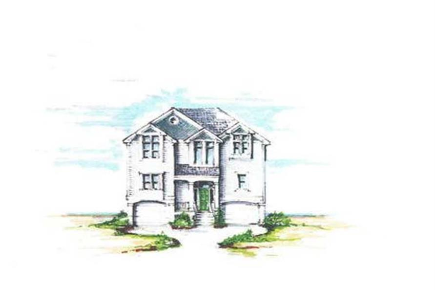 Home Plan Front Elevation of this 5-Bedroom,2682 Sq Ft Plan -130-1067