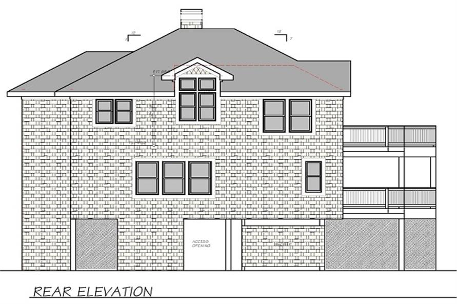 Home Plan Rear Elevation of this 4-Bedroom,2190 Sq Ft Plan -130-1070