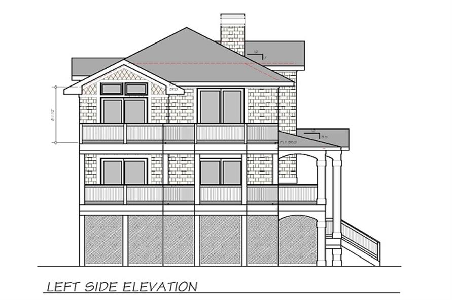 Home Plan Left Elevation of this 4-Bedroom,2190 Sq Ft Plan -130-1070