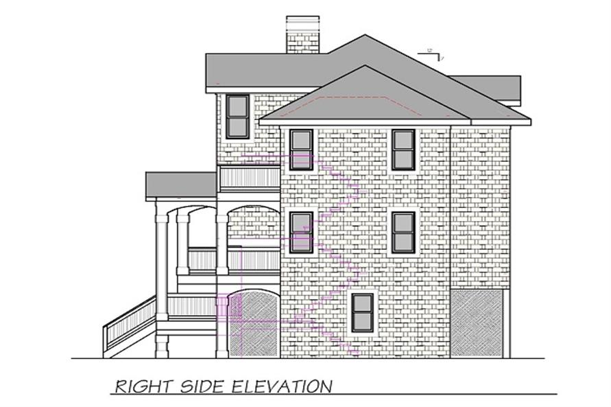 Home Plan Right Elevation of this 4-Bedroom,2190 Sq Ft Plan -130-1070