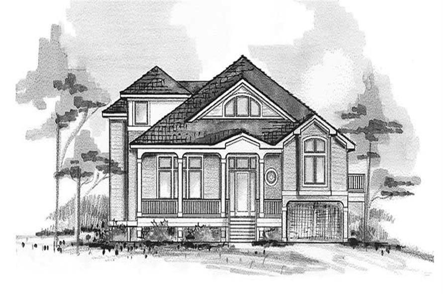 Home Plan Front Elevation of this 5-Bedroom,3423 Sq Ft Plan -130-1071