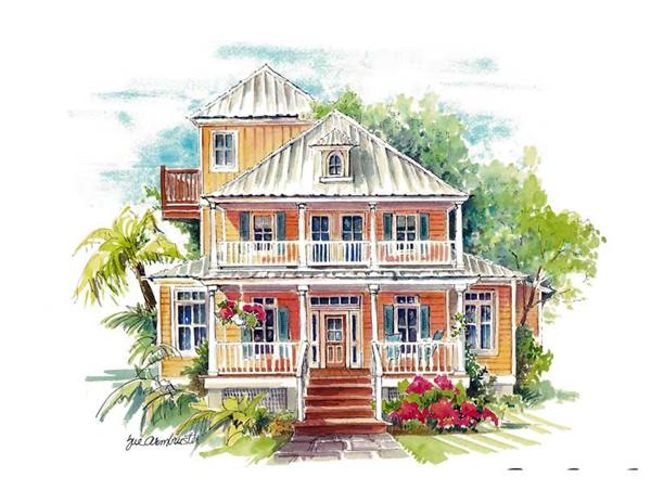 This is an artist's rendering of these California Style House Plans.