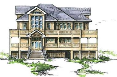 4-Bedroom, 4249 Sq Ft Coastal Home Plan - 130-1073 - Main Exterior