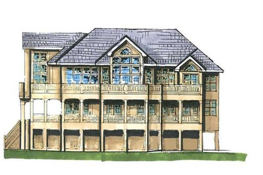 Home Plan Rear Elevation of this 4-Bedroom,4249 Sq Ft Plan -130-1073
