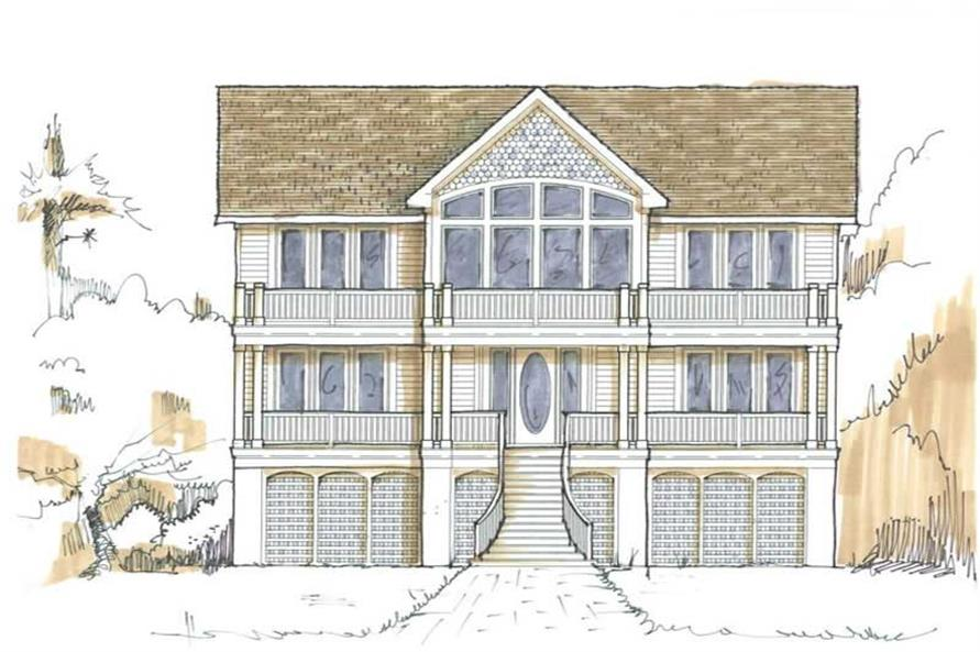 Home Plan Front Elevation of this 5-Bedroom,3410 Sq Ft Plan -130-1074