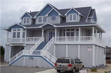 5-Bedroom, 3469 Sq Ft Coastal House Plan - 130-1075 - Front Exterior