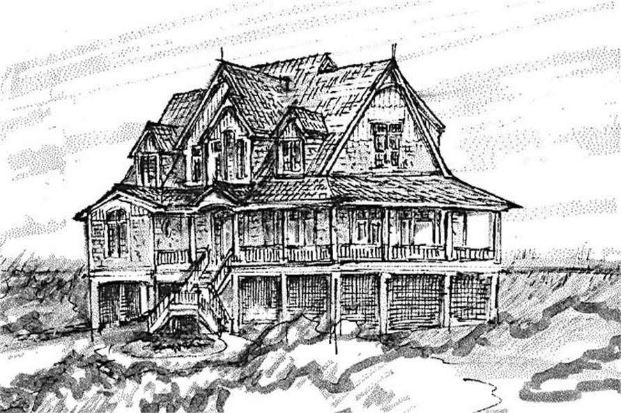 Home Plan Front Elevation of this 5-Bedroom,3469 Sq Ft Plan -130-1075