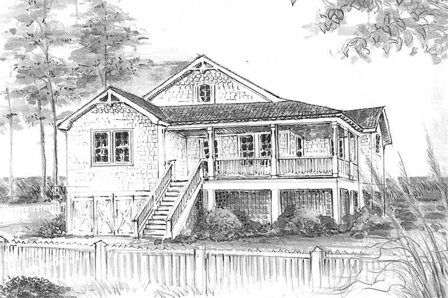 Home Plan Front Elevation of this 2-Bedroom,1306 Sq Ft Plan -130-1076