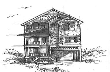 7-Bedroom, 3444 Sq Ft Coastal House Plan - 130-1077 - Front Exterior