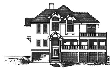 4-Bedroom, 3402 Sq Ft Coastal House Plan - 130-1078 - Front Exterior