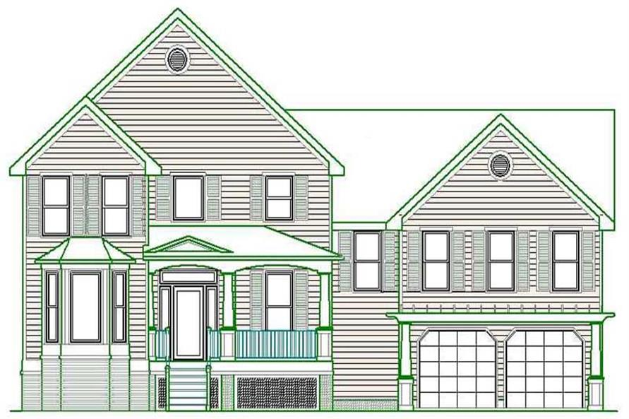 Home Plan Front Elevation of this 5-Bedroom,3695 Sq Ft Plan -130-1080