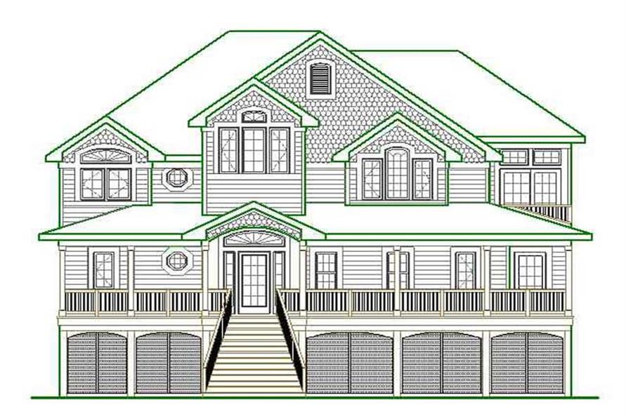 Home Plan Front Elevation of this 6-Bedroom,3919 Sq Ft Plan -130-1081