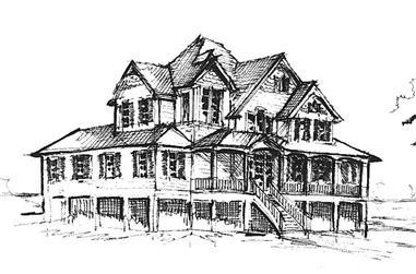 4-Bedroom, 3389 Sq Ft Coastal House Plan - 130-1082 - Front Exterior