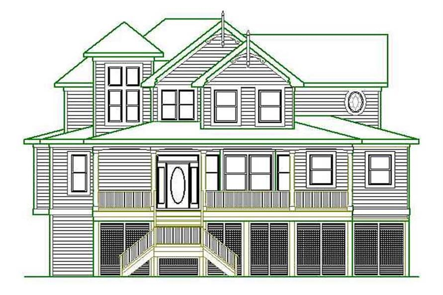 Home Plan Front Elevation of this 4-Bedroom,3389 Sq Ft Plan -130-1082