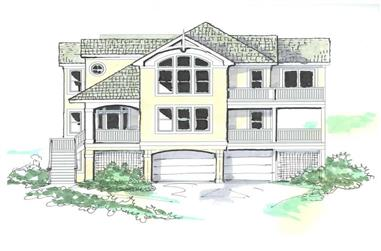 8-Bedroom, 4690 Sq Ft Coastal House Plan - 130-1085 - Front Exterior