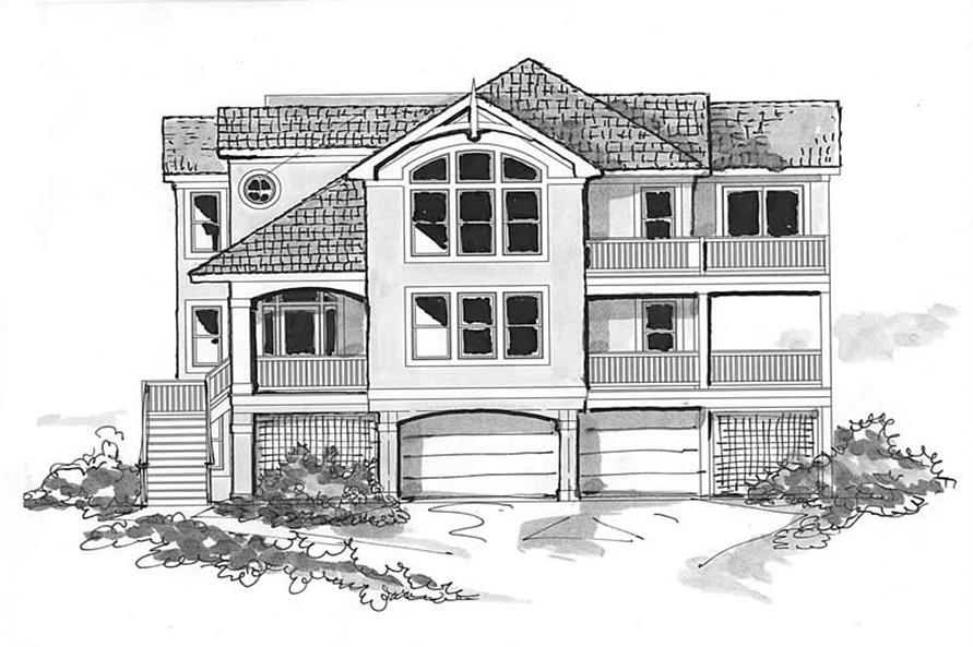 Home Plan Front Elevation of this 8-Bedroom,4690 Sq Ft Plan -130-1085
