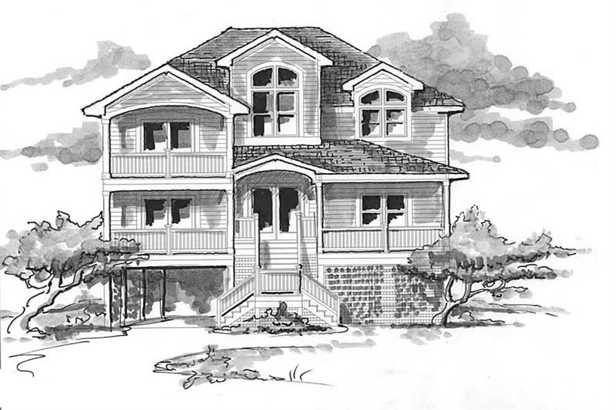 Home Plan Front Elevation of this 6-Bedroom,4081 Sq Ft Plan -130-1086