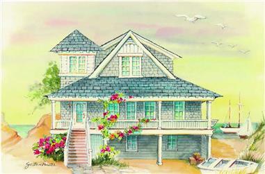 5-Bedroom, 3157 Sq Ft Coastal House Plan - 130-1089 - Front Exterior