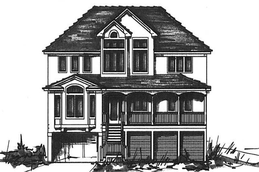 Home Plan Front Elevation of this 6-Bedroom,3619 Sq Ft Plan -130-1090