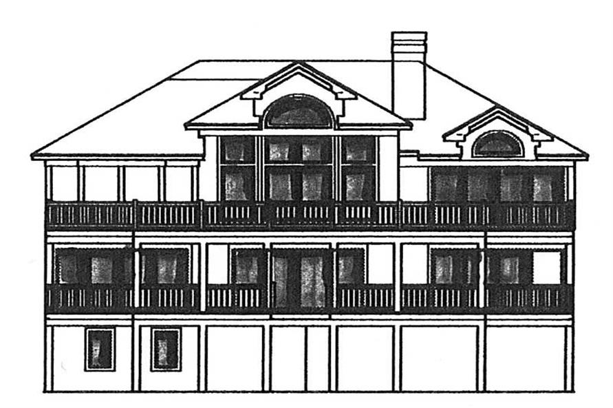 Home Plan Rear Elevation of this 6-Bedroom,3619 Sq Ft Plan -130-1090