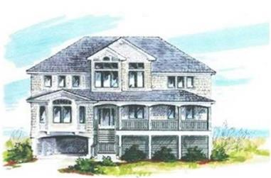 6-Bedroom, 3619 Sq Ft Coastal House Plan - 130-1090 - Front Exterior