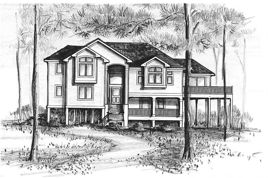 Home Plan Front Elevation of this 5-Bedroom,3880 Sq Ft Plan -130-1091