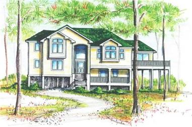 5-Bedroom, 3880 Sq Ft Coastal Home Plan - 130-1091 - Main Exterior