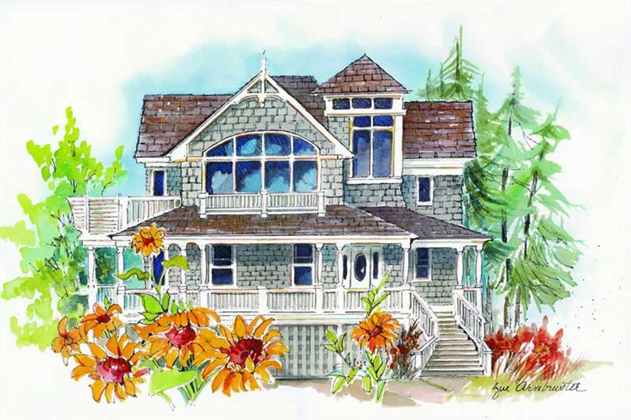5-Bedroom, 3176 Sq Ft Coastal Home Plan - 130-1092 - Main Exterior