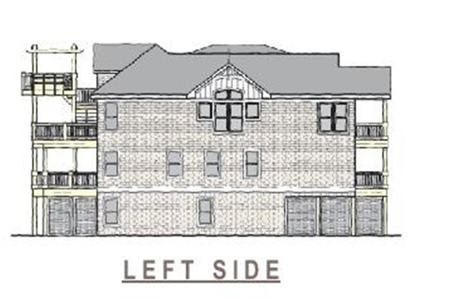 Home Plan Left Elevation of this 6-Bedroom,3068 Sq Ft Plan -130-1093