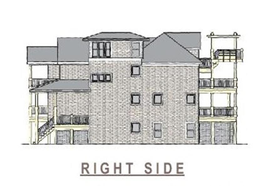 Home Plan Right Elevation of this 6-Bedroom,3068 Sq Ft Plan -130-1093
